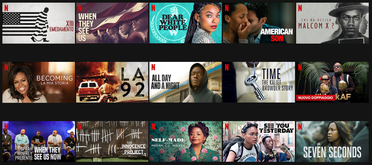 Netflix lancia la sezione Black Lives Matter